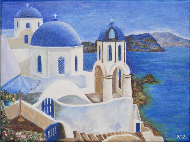 16x20 Santorini,Greece by D.T.D. is a spectacular rendition of this charming Greek Church. Excellent painting. D.T.D. lives in France and is a member or our Art Academy. www.gingercooklive.gallery