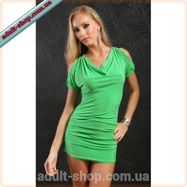 Салатовое мини-платье