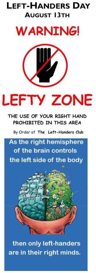 Join me (as a left handed person) to wish all HAPPY LEFT HANDERS DAY— August 13th !!
