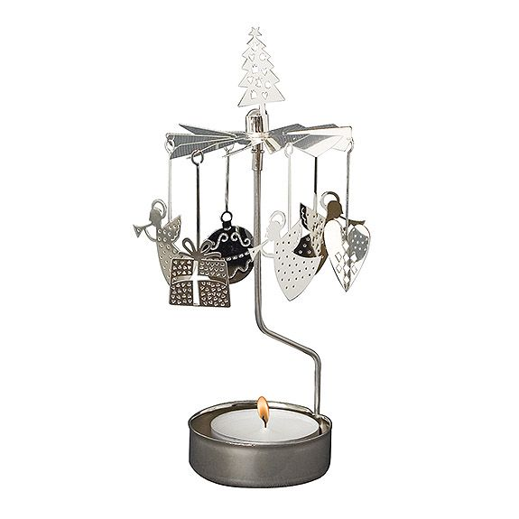 Rotary Tealight Holder - Xmas Silver