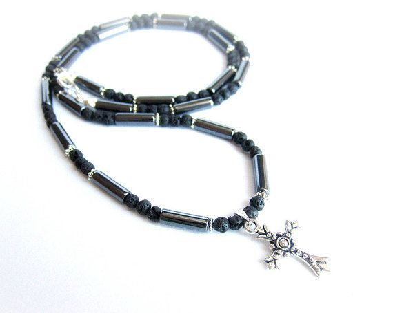 Mens cross necklace black stone beaded necklace black lava