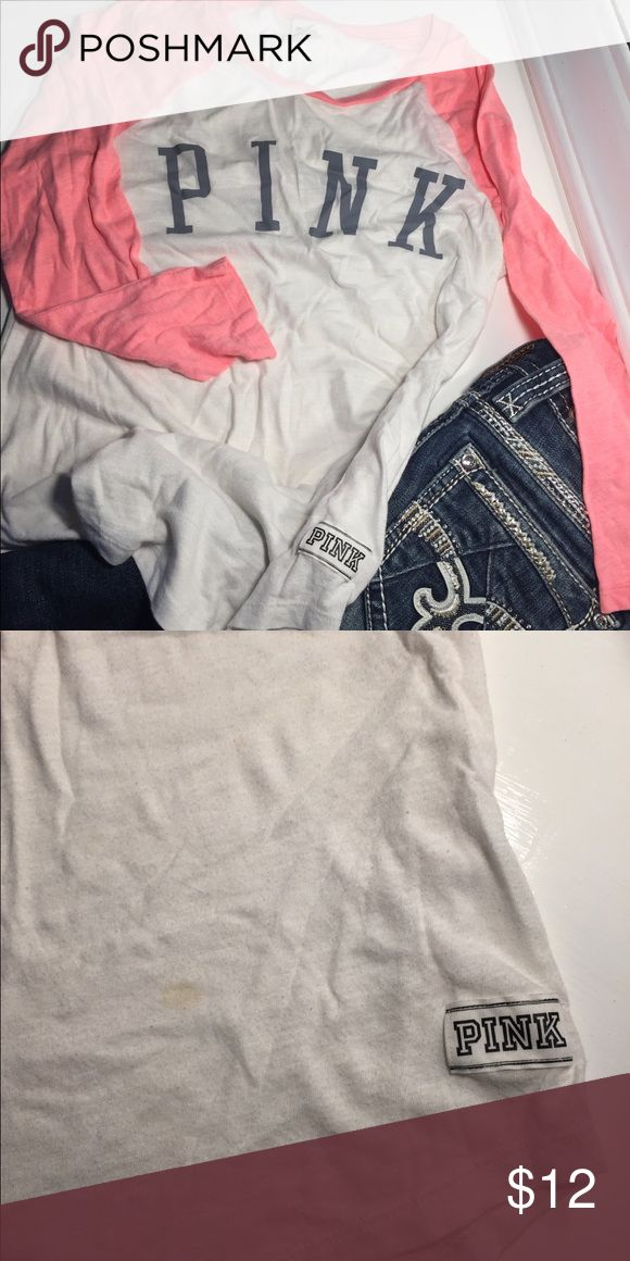 VS PINK half sleeve shirt Very cute and light weight top. Has a small stain on the bottom left side of the shirt (as pictured) PINK Victoria's Secret Tops Tees - Long Sleeve