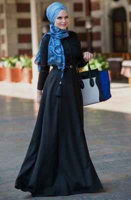 Muslima Wear Buket Elbise 1601008 Siyah