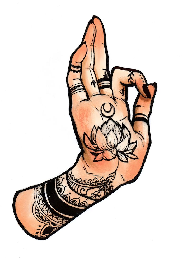 5x7 giclee print of a tattooed hand on high quality matte stock with rounded edges
