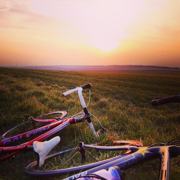 Evening rides #sunset #raleighbikes