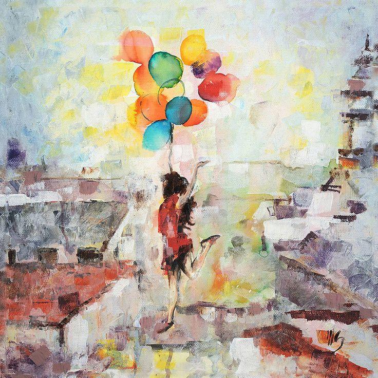 Obrazy - Balóny namiesto krídel. 60x60, reprodukcia - 6395502_