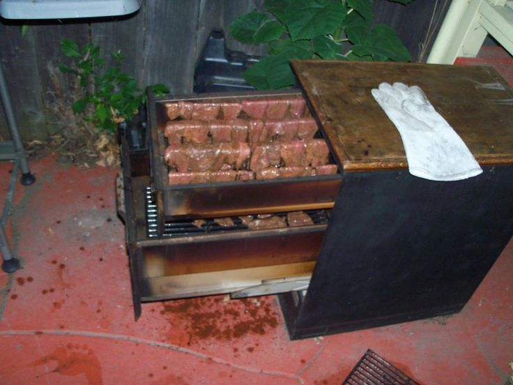 Meat smoker from an old office filing cabinet.