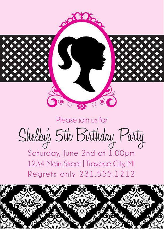Barbie Birthday Invitations - Vintage Barbie Birthday Party Invitation