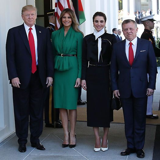 Melania looked gorgeous in green to welcome Queen Raina and King Abdullah II of Jordan to the White House in April 2017. The stylish first lady wore a belted draped dress for her first meeting with a royal figure since her husband's inauguration. President Trump's wife completed her polished look with black pumps and her signature blowout. Photo: Getty Images