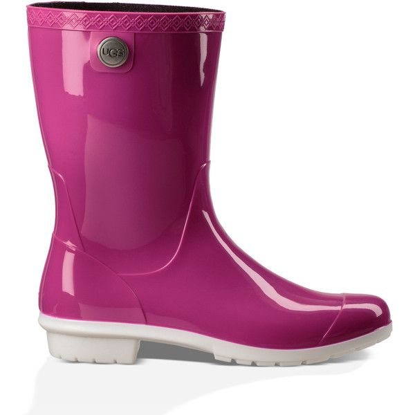 Ugg ® Sienna Rubber Rain Boot ($65) ❤ liked on Polyvore featuring shoes, boots, neon pink, rain boots, ugg footwear, rubber rain boots, wellies rubber boots and wellington boots