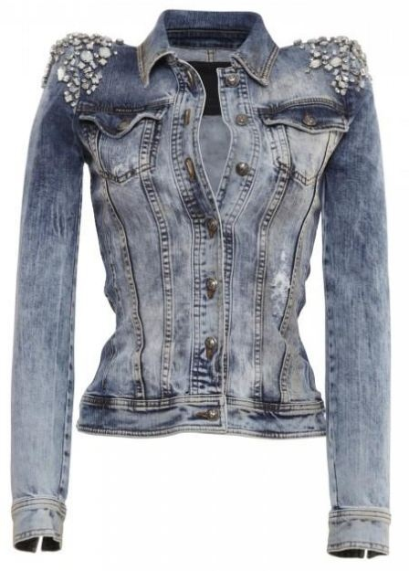 ★ Rock 'n' Roll Style ★ Embellished Crystal Denim Jacket by Phillip Plein