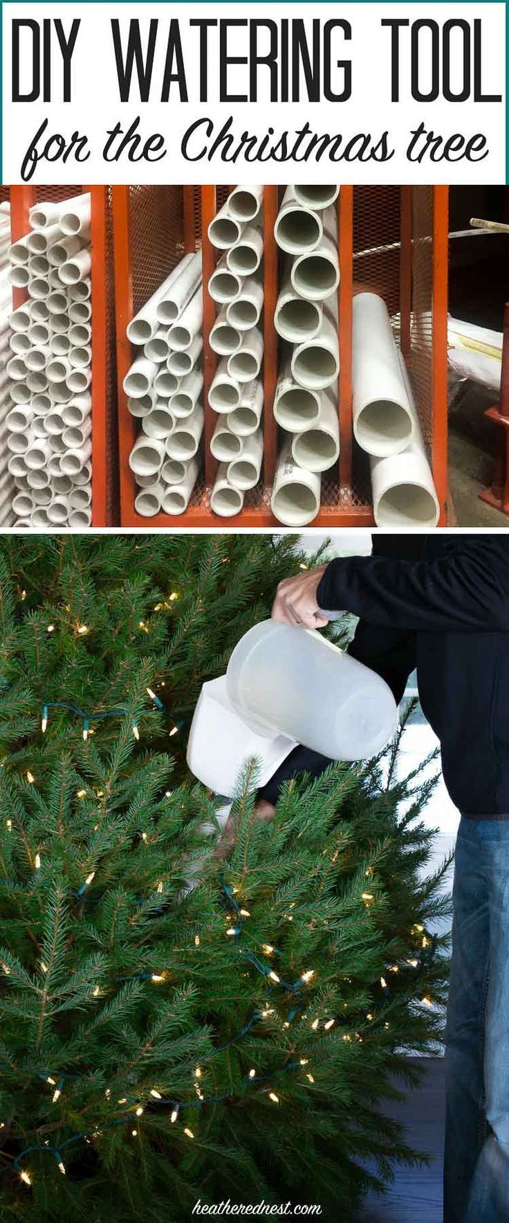 WHY DIDN'T I THINK OF THIS?! Easy DIY tool prevents breaking your back to water the Christmas tree! Best holiday DIY ever!! from http://heatherednest.com