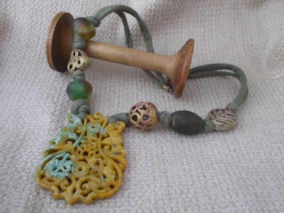 Green chinese jade carved pendant necklace and by wadadaislove