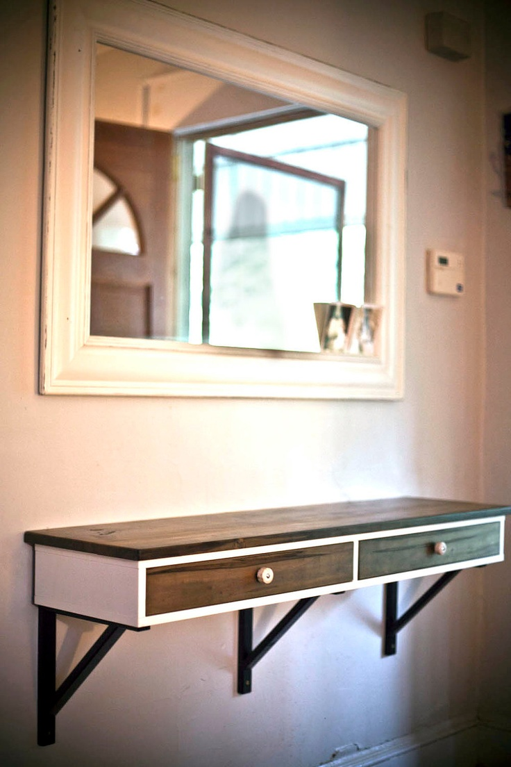 Floating Entry Table Made To Order Modified Ikea Shelf With Two Drawers Ambrosia