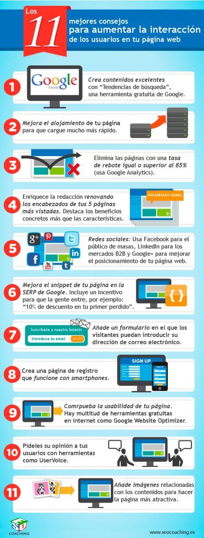 11 consejos para aumentar la interacción en tu web #infografia