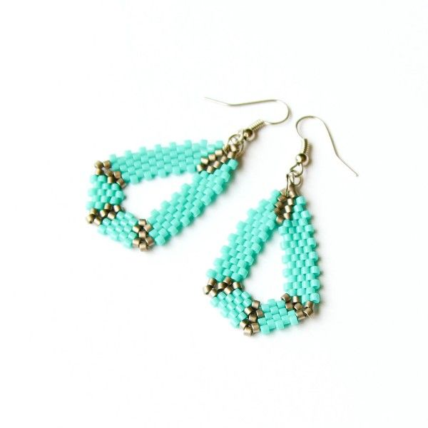 Geometric turquoise beaded earrings