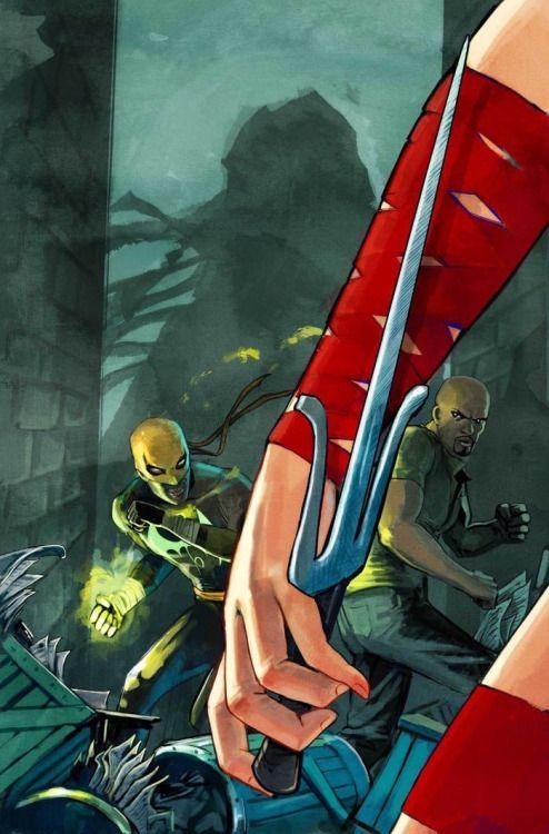 Comic Book Artwork • Elektra, Powerman and Iron Fist