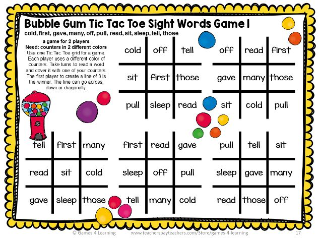 15 fall sight word games (for all the Dolch lists!) - The ...