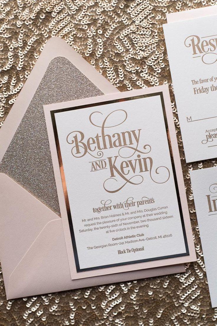 Blush Gold Glitter Wedding Invitation Gold Glitter Wedding Etsy In 2020 Glitter Wedding Invitations Fancy Wedding Invitations Blush Invitations