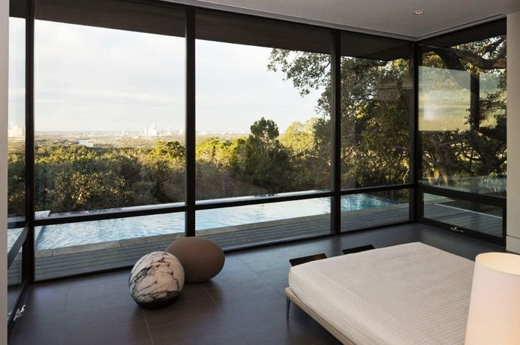Home Design, Beautiful Skyline House Bedroom Involving Floor To Ceiling Glass Wall Overlooking City View With Greenery: Captivating Modern House Design Ideas with Infinite Swimming Pool