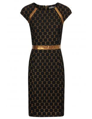 Vergroot - Goudkleurig kleed met zwarte stippen