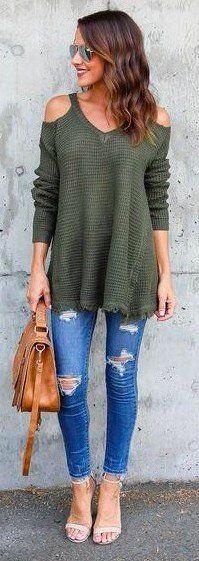 cold shoulder olive green tunic