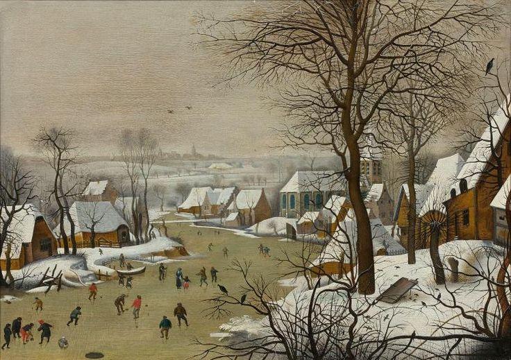 Pieter Brueghel le Jeune Bruxelles 1564 - Anvers 1638 Paysage d'hiver avec une trappe aux oiseaux Huile sur panneau, doublé et parqu..