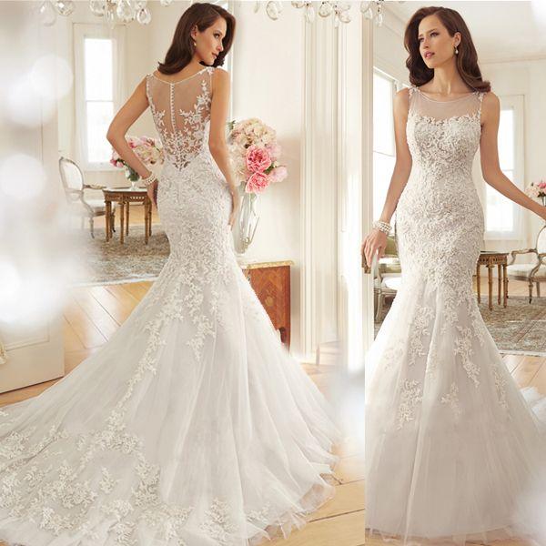 2015 mode Vintage dentelle de mariée sirène robe robes Sexy , Plus ...