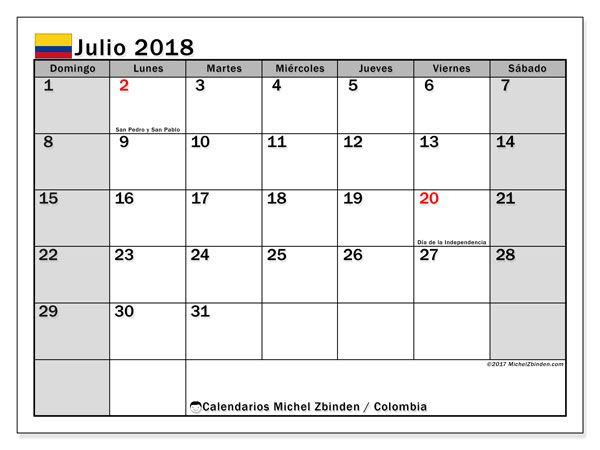 Calendario julio 2018, con los días festivos en Colombia. Calendario gratuito para imprimir.