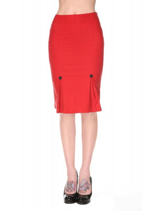 Voodoo Vixen Super Stretch Pencil Skirt  - Red