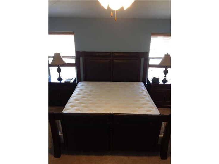 wood leather bed with matching dresser end tables armoire bed frames - Bed Frames Austin