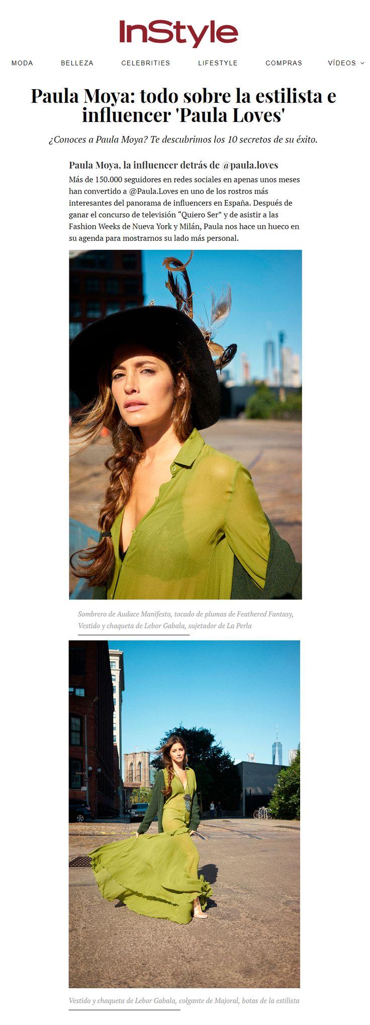 La influencer Paula Moya en InStyle.com con vestido de seda Lebor Gabala, noviembre 2017.