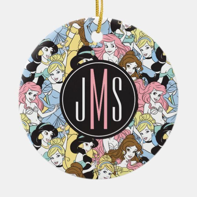 Disney Princess Monogram Oversized Pattern Ceramic Ornament Zazzle Com Ceramic Ornaments Monogram Disney Christmas