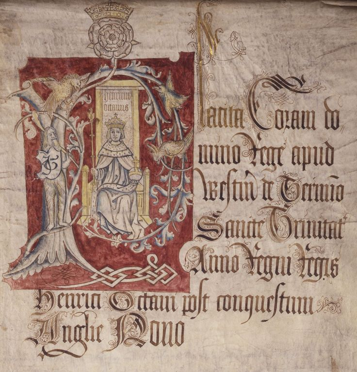 This document shows the young crowned Henry VIII enthroned under the Tudor rose with orb and sceptre. The image might have been a stock one that had previously been deployed for Henry VII and adapted once Henry VIII came to the throne. This is one of several surviving images of the young Henry where he is clean shaven.