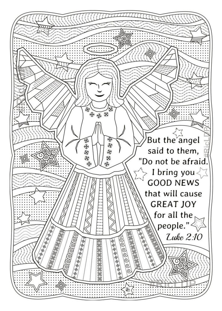 Two Christmas Coloring Pages Luke 2 10 and Romans 15 13