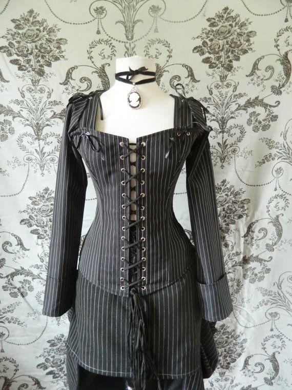 Pinstripe overbust corset-steel boned corset in by AliceAndWillow