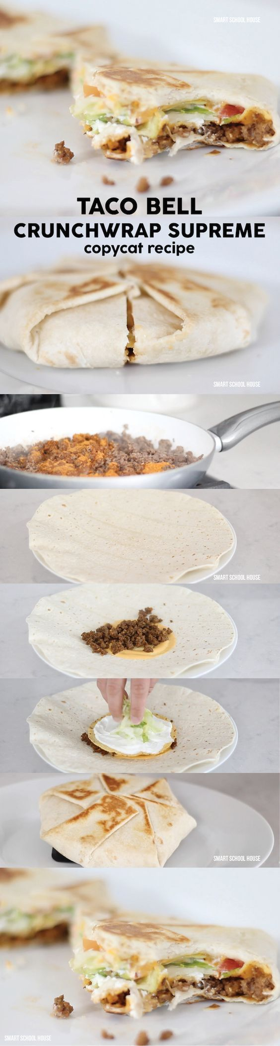 DIY Taco Bell Crunchwrap Recipe - Smart School House DIY Taco Bell Crunchwrap Supreme copycat recipe to make a home. Saving this!