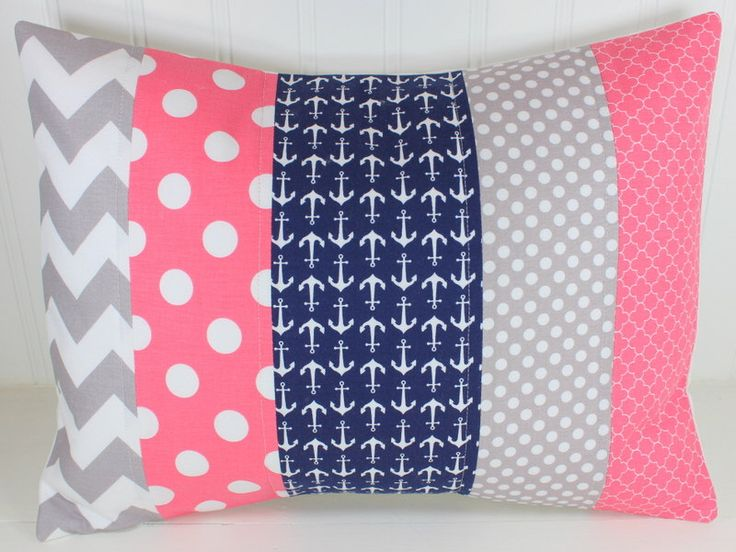 Nursery Pillow Cover, Anchor Pillow Cover, Girl Nursery Decor, Nautical Nursery Decor, Coral Pink, Navy Blue, Gray, Grey, 12 x 16 Inches by TheRedPistachio on Etsy https://www.etsy.com/listing/262265285/nursery-pillow-cover-anchor-pillow-cover