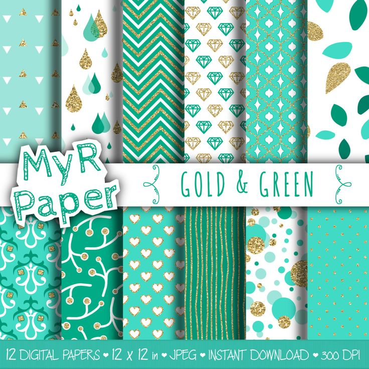 """Gold glitter green digital paper: """"GOLD & GREEN"""" green and gold glitter pack of backgrounds with chevron, polka dots, stripes, hearts di MyRpaper su Etsy  With #love by @myrpaper on @etsy   #pattern #design #graphic #paperdesign #papercraft #scrapbooking #digitalpaper"""