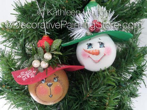 Lightbulb Snowman and Teddy Bear Ornies Pattern - Kathleen Whiton - PDF DOWNLOAD