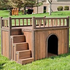 Wood Dog House Outdoor Tent Weather Resistant Large Pet Shelter Cage Kennel Cat
