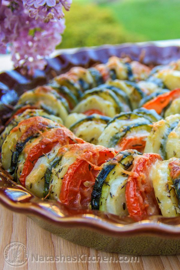"Vegetable Tian - ""This vegetable tian is healthy and has simple ingredients; zucchini, potatoes and tomato slices, seasoned to perfection and topped with lots of Parmesan cheese."""