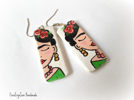 Frida Kahlo Illustrated earrings , Wooden hand-painted earrings, wooden jewelry…