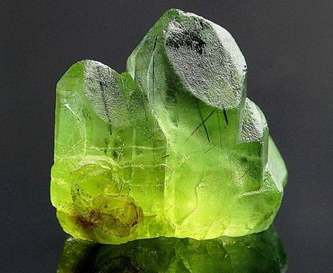 Nice green & well fromed, transparent peridot crystals from Soppat, Kaghan Valley, Kohisthan, Pakistan Credit: Wittig-Minerals