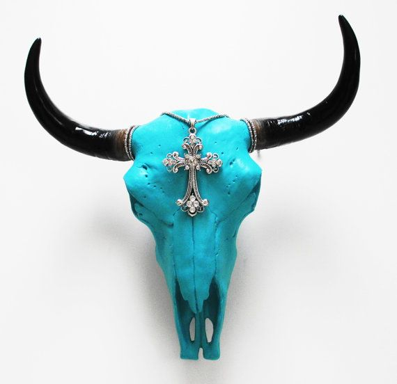 El Toro Skull Animal Skull Cow Skull Southwest by hodihomedecor, $54.90 .. really ? I just like the color .. and style !
