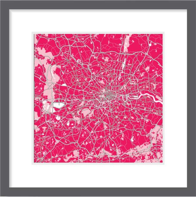 London map in pink colours. Premium quality print. Ideal picture artwork for your wall. Swiss brand. Unique design. Size 30x30, 60x60, 90x90 cm