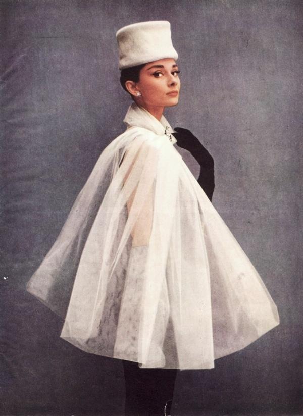 Sheer fabric cape, fur collar