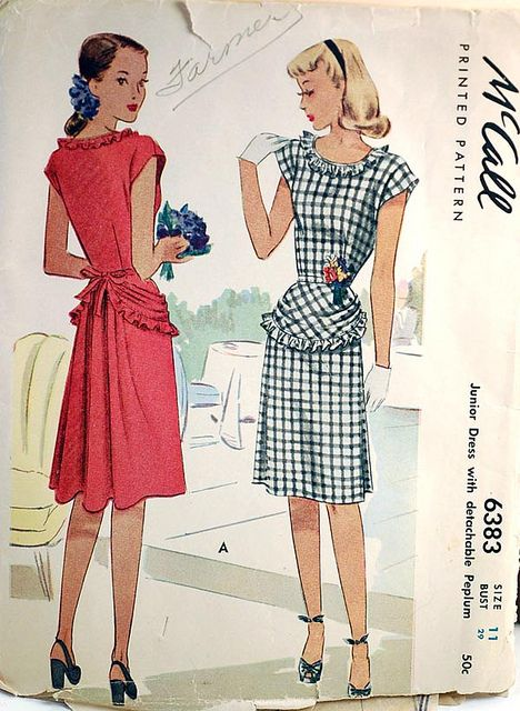 https://flic.kr/p/7Zu7z9   1940s peplum bustle vintage sewing pattern   This 1940s dress has a detachable peplum and a bustle back.