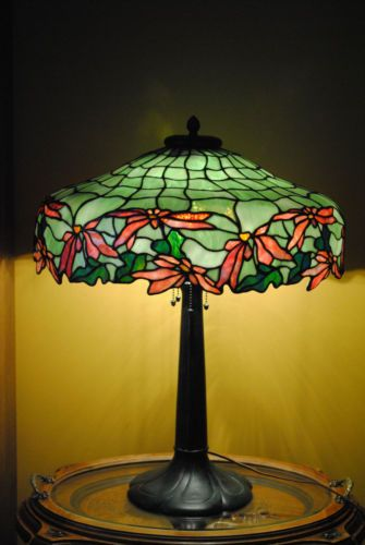 American leaded stained slag glass ponsettia unique handel whaley era lamp