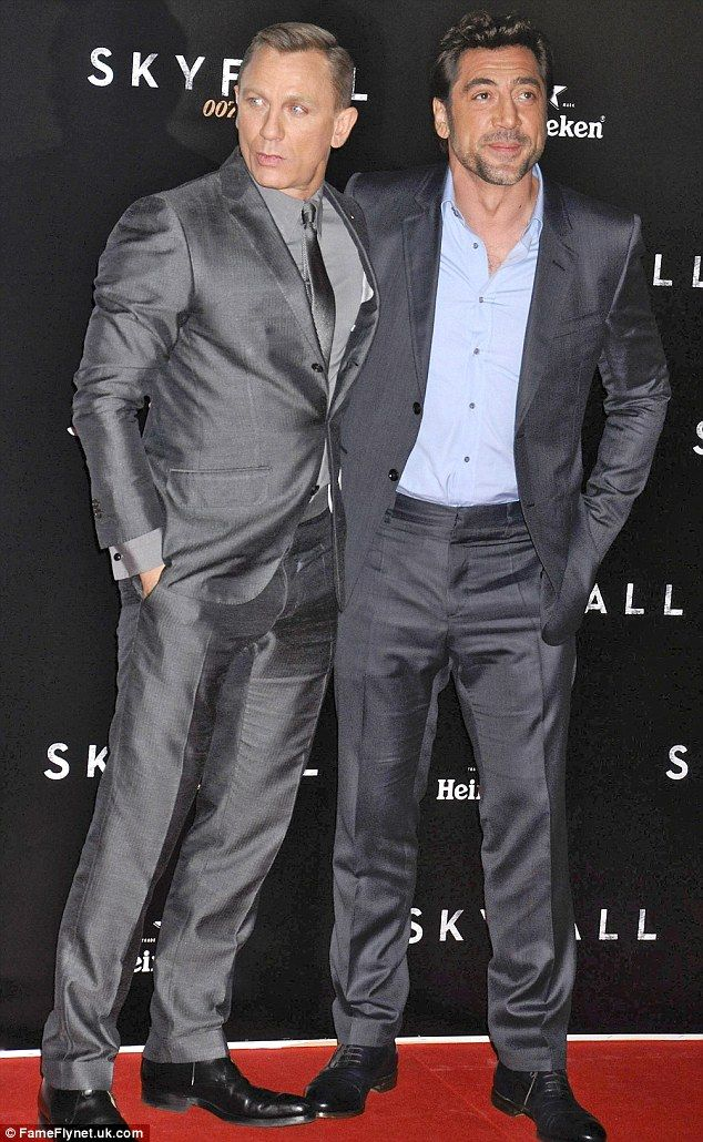 Pals: They may play enemies in the film, but Craig and Bardem cosied up on the red-carpet. Love Silk Suits.